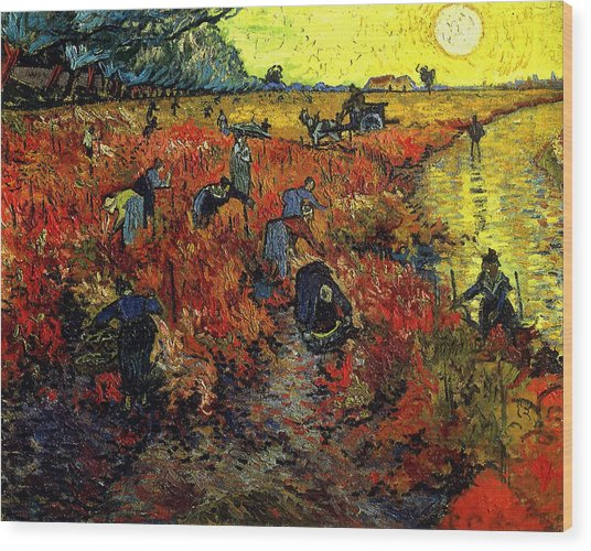 Wood Print featuring the painting The Red Vineyard At Arles by Van Gogh