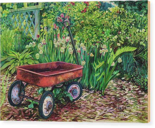 The Red Wagon Wood Print