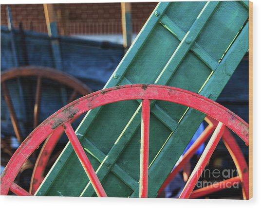 The Red Wagon Wheel Wood Print