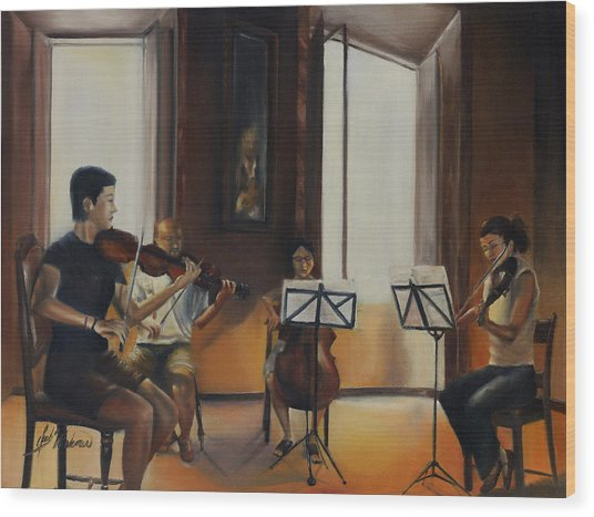 The Rehearsal Wood Print by Leah Wiedemer