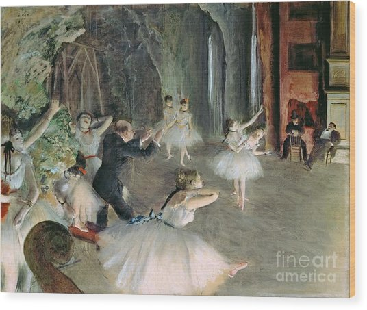The Rehearsal Of The Ballet On Stage Wood Print