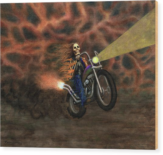 The Ride Out Of Bardo Wood Print by Bobby Beausoleil
