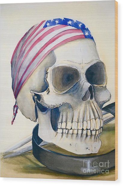 The Rider's Skull Wood Print