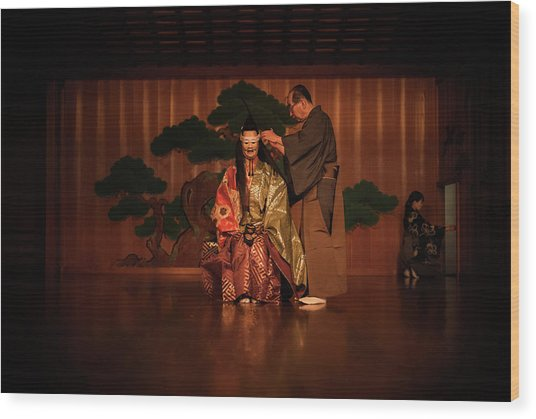 The Ritual Of The Costume In Noh Traditional Theater. Wood Print