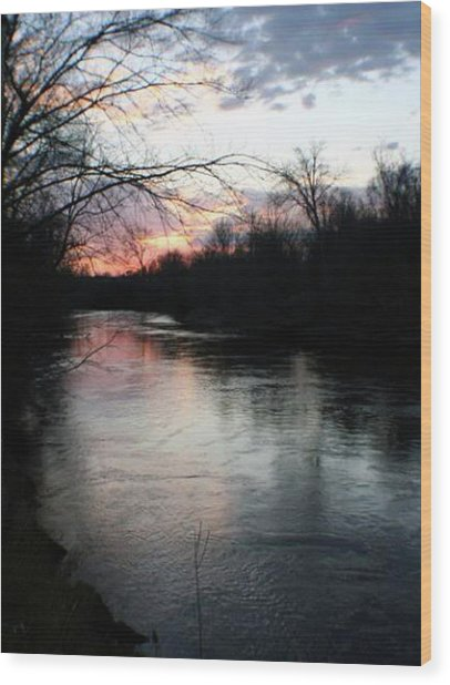 The River At Sunset Wood Print