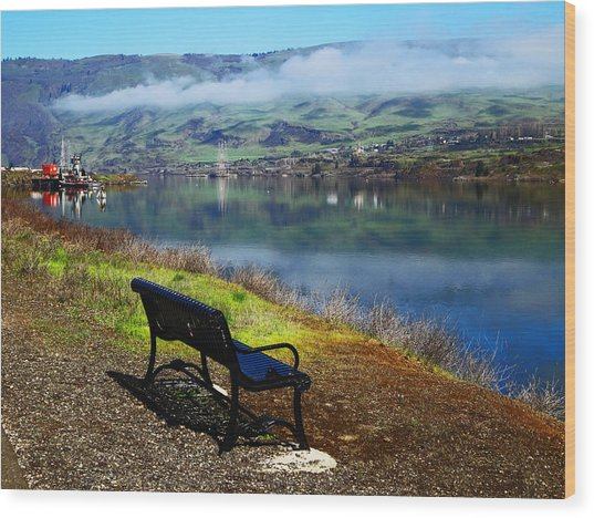 The River Bench Wood Print