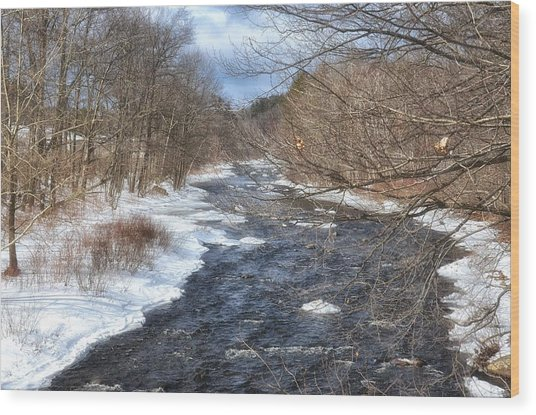 The River In Winter Wood Print