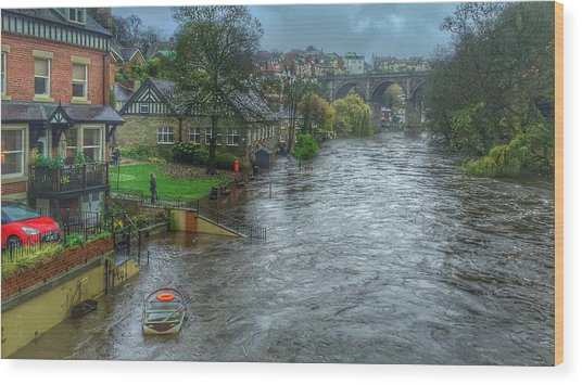 The River Nidd In Flood At Knaresborough Wood Print