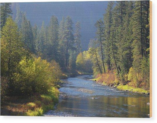 The River Runs Through Autumn Wood Print