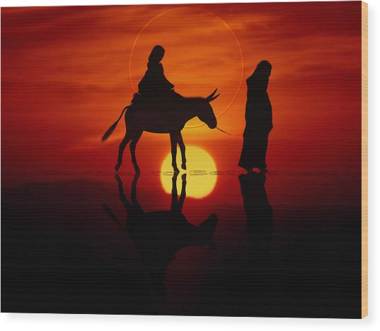 Wood Print featuring the painting The Road To Bethlehem by Valerie Anne Kelly