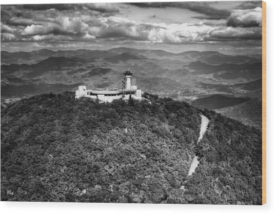 The Road Up To Brasstown Bald In Black And White Wood Print