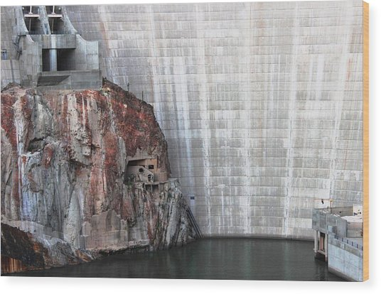 The Rock Behind The Dam Wood Print