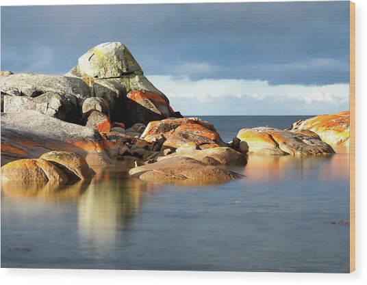 The Rocks And The Water Wood Print