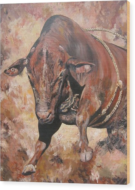 The Rodeo Bull Wood Print by Leonie Bell