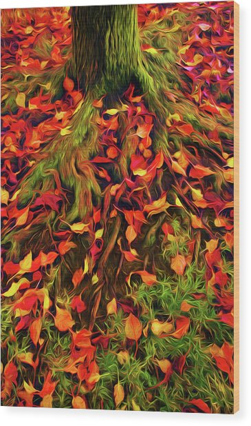The Root Of Fall Wood Print