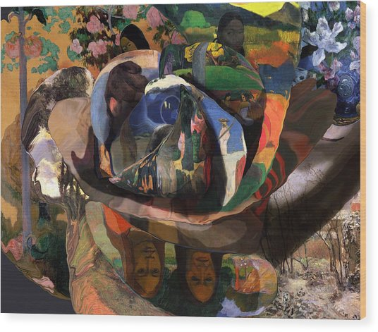 Wood Print featuring the digital art The Rose Of Gauguin by David Bridburg