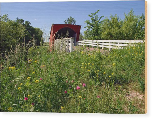 The Roseman Bridge In Madison County Iowa Wood Print