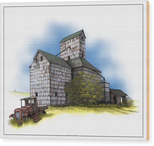 The Ross Elevator Autumn Wood Print