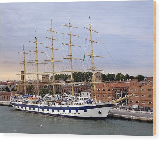 The Royal Clipper Docked In Venice Italy Wood Print