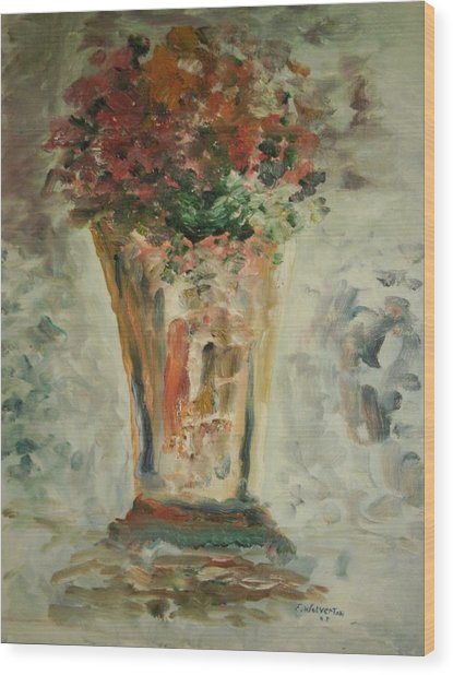 The Ruffled Stem Vase Wood Print by Edward Wolverton