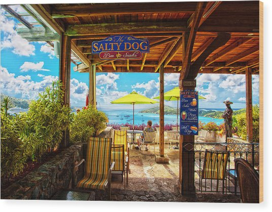 The Salty Dog Cafe St. Thomas Wood Print