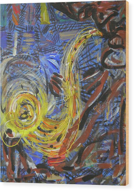 The Sax Man Wood Print