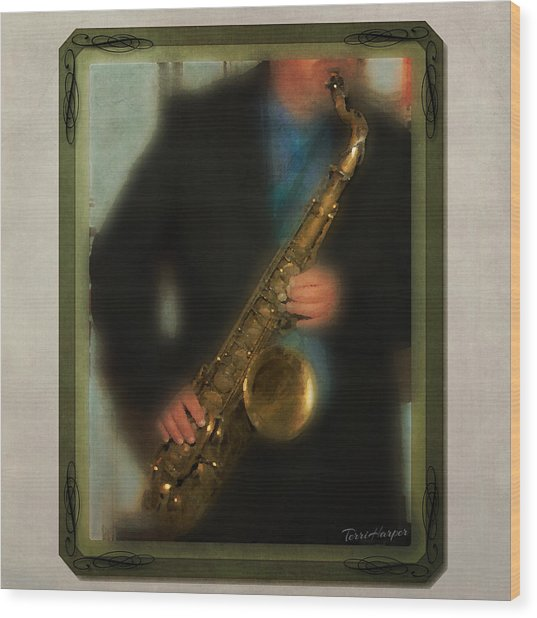 The Sax Player Wood Print