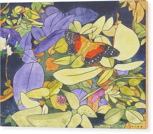 The Scarlet Peacock Wood Print