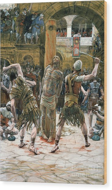 The Scourging Wood Print