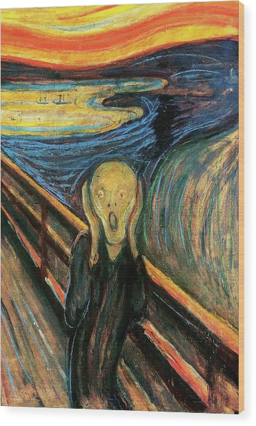 The Scream Flame Tree Edition Wood Print by Edvard Munch