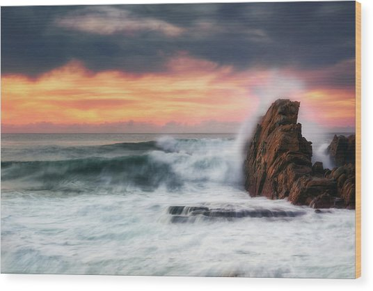 The Sea Against The Rock Wood Print