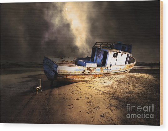 The Sea Never Gives Up Her Dead Dsc2099 Partial Sepia Wood Print