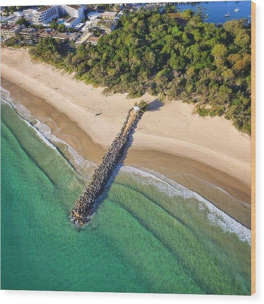 The Sea Wall Near Noosa Main Beach Wood Print