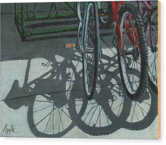 The Secret Meeting - Bicycle Shadows Wood Print by Linda Apple