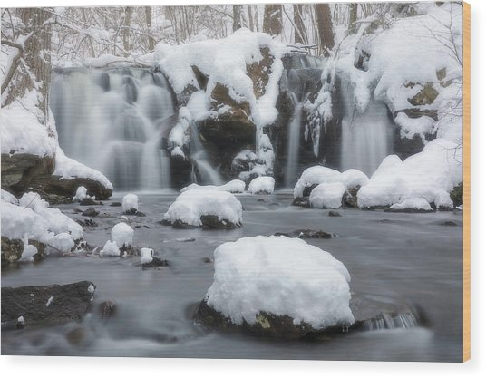 The Secret Waterfall In Winter 1 Wood Print