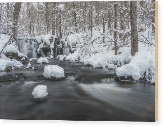 The Secret Waterfall In Winter 2 Wood Print