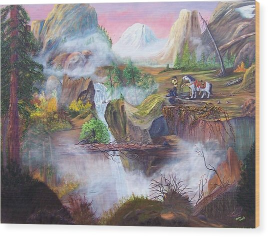 The Seekers At Saddle Rock Wood Print by Myrna Walsh