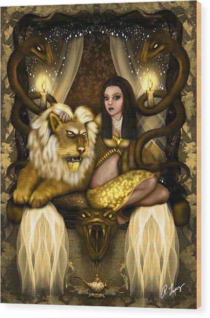 The Serpent Gateway Fantasy Art Wood Print