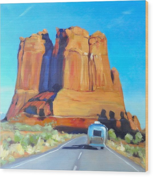 The Shadow Of The Three Gossips Arches Utah Wood Print