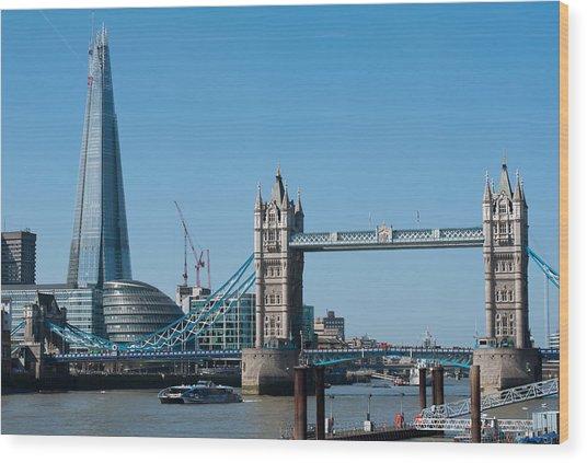 The Shard With Tower Bridge Wood Print