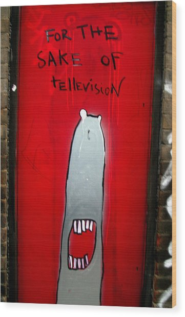 The Sharker Side Of Tv Wood Print by Jez C Self