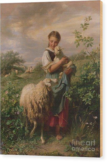 The Shepherdess Wood Print