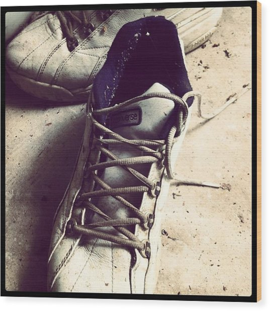 The Shoes He Left Behind Wood Print by Dana Coplin