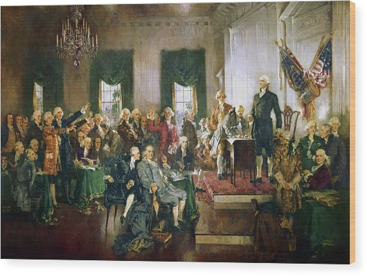 The Signing Of The Constitution Of The United States, 1787 Wood Print