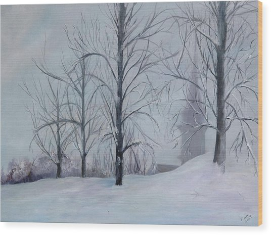 The Silence Of Snow Wood Print by Betty Pimm