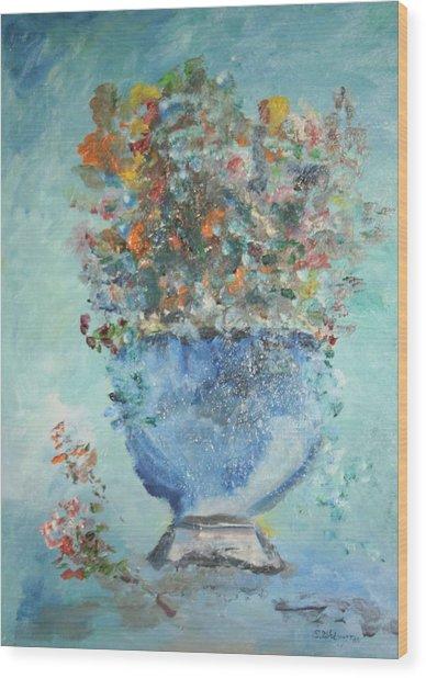 The Silver Bowl Vase Wood Print by Edward Wolverton