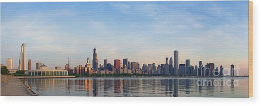 The Skyline Of Chicago At Sunrise Wood Print