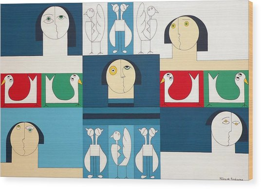The Sound Of Birds Wood Print by Hildegarde Handsaeme