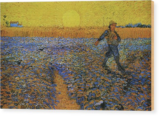 Wood Print featuring the painting The Sower by Van Gogh