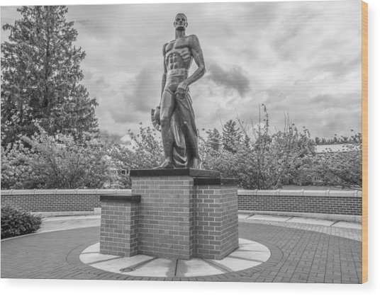 The Spartan Statue Black And White  Wood Print